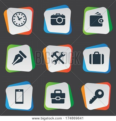 Vector Illustration Set Of Simple  Icons. Elements Time, Billfold, Repair And Other Synonyms Diplomat, Pen And Password.