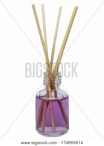air freshener sticks with purple liquid in a glass bottle on a white background