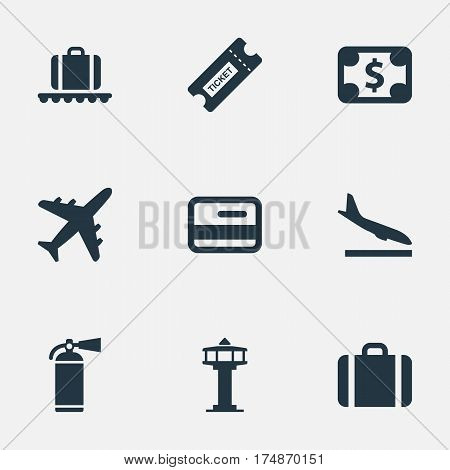 Vector Illustration Set Of Simple Plane Icons. Elements Coupon, Protection Tool, Plane And Other Synonyms Extinguisher, Conveyor And Landing.