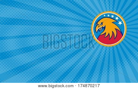 Business card showing Illustration of an american bald eagle head viewed from the side set inside circle with stars in the background done in retro style.