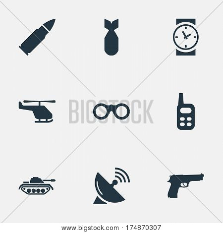 Vector Illustration Set Of Simple Terror Icons. Elements Field Glasses, Signal Receiver, Heavy Weapon And Other Synonyms Glasses, Air And Heavy.