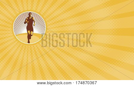 Business card showing Illustration of marathon triathlete runner running facing front view set inside circle done in retro style.