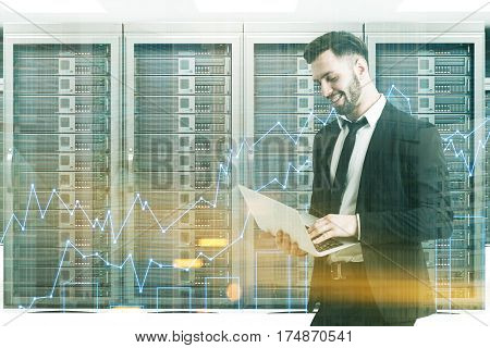 Bearded Man In A Server Room, Toned