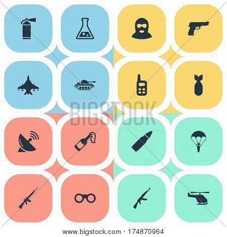 Vector Illustration Set Of Simple Battle Icons. Elements Chemistry, Heavy Weapon, Helicopter And Other Synonyms Air, Molotov And Plane.