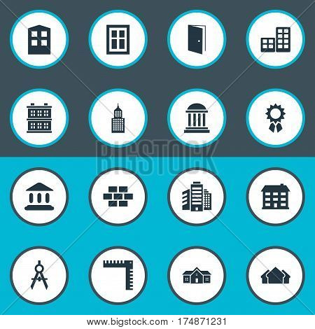 Vector Illustration Set Of Simple Structure Icons. Elements Stone, Booth, School And Other Synonyms Academy, Shack And Compass.