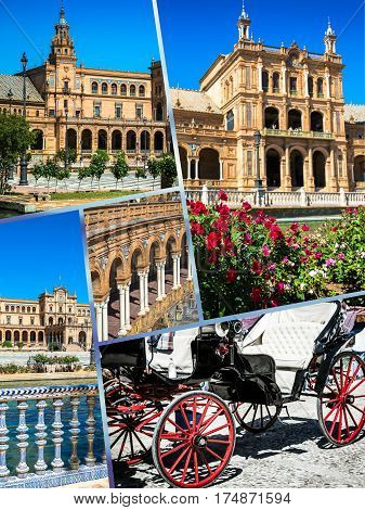Collage of Plaza de Espana Seville, Andalusia, Spain,