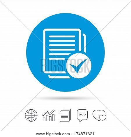 Text file sign icon. Check File document symbol. Copy files, chat speech bubble and chart web icons. Vector