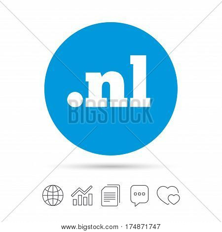Domain NL sign icon. Top-level internet domain symbol. Copy files, chat speech bubble and chart web icons. Vector