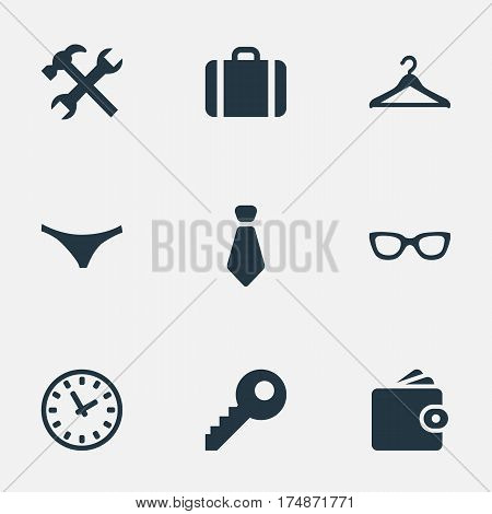 Vector Illustration Set Of Simple  Icons. Elements Cravat, Briefcase, Eyeglasses And Other Synonyms Tool, Case And Repair.