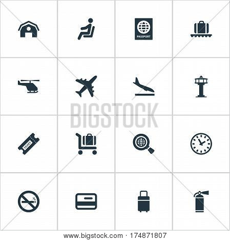 Vector Illustration Set Of Simple Airport Icons. Elements Cigarette Forbidden, Flight Control Tower, Watch And Other Synonyms Watch, Fly And Fire.