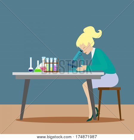 A chemist girl or an assistant observes chemical reactions through a microscope. New scientific discoveries. Flat character on grey background. Vector, illustration EPS10