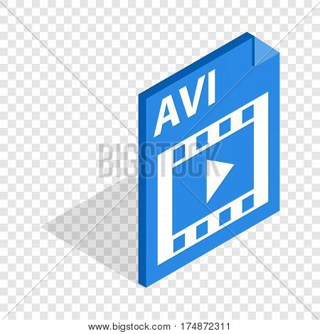 AVI file extension isometric icon 3d on a transparent background vector illustration