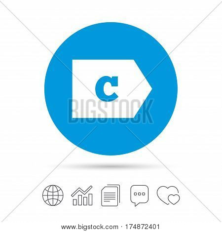 Energy efficiency class C sign icon. Energy consumption symbol. Copy files, chat speech bubble and chart web icons. Vector