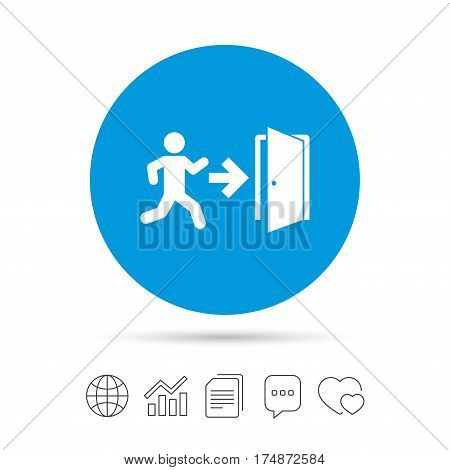 Emergency exit with human figure sign icon. Door with right arrow symbol. Fire exit. Copy files, chat speech bubble and chart web icons. Vector