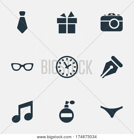 Vector Illustration Set Of Simple  Icons. Elements Music, Present, Time And Other Synonyms Photographing, Cravat And Present.