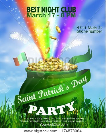 Vector St. Patrick s Day poster design template. Pot of Gold and rainbow on wblue sky vector