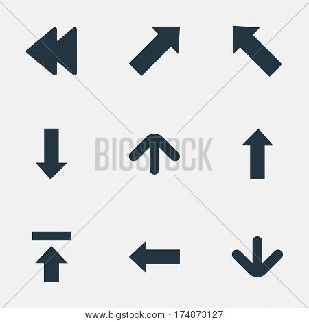 Vector Illustration Set Of Simple Pointer Icons. Elements Indicator, Left Direction, Upward Direction And Other Synonyms Upload, Transfer And Rearward.