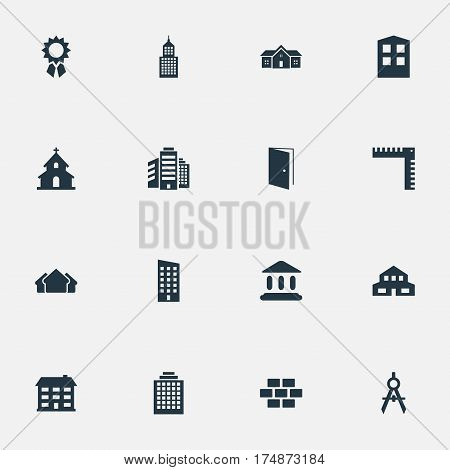 Vector Illustration Set Of Simple Construction Icons. Elements Offices, Booth, Stone And Other Synonyms Shanty, Stone And Medal.