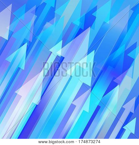 Blue vector background with many diagonal arrows