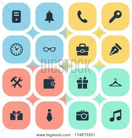 Vector Illustration Set Of Simple Instrument Icons. Elements Billfold, Ink Pencil, Repair And Other Synonyms Ring, Hook And Tool.