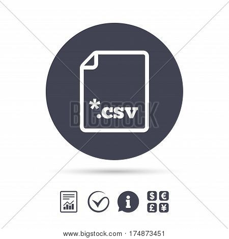 File document icon. Download tabular data file button. CSV file extension symbol. Report document, information and check tick icons. Currency exchange. Vector