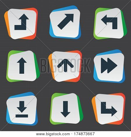 Vector Illustration Set Of Simple Pointer Icons. Elements Pointer, Upward Direction, Upward Direction And Other Synonyms Arrow, Ahead And Forward.