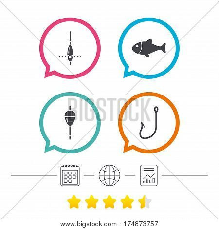 Fishing icons. Fish with fishermen hook sign. Float bobber symbol. Calendar, internet globe and report linear icons. Star vote ranking. Vector