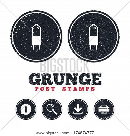 Grunge post stamps. Light bulb icon. Lamp G4 socket symbol. Led or halogen light sign. Information, download and printer signs. Aged texture web buttons. Vector
