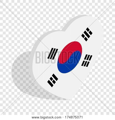 Heart with South Korean flag isometric icon 3d on a transparent background vector illustration