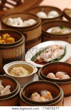Special dim sum on bamboo bowl for steaming