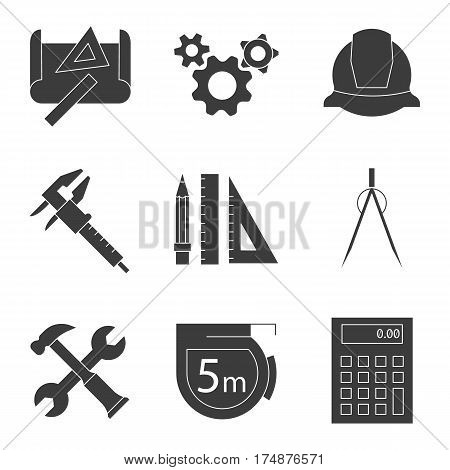 Engineering items and tools concepts icons set. Silhouette symbols. Drawing, gears, helmet, caliper, divider, hammer and wrench, measuring tape, calculator, pencil with rulers