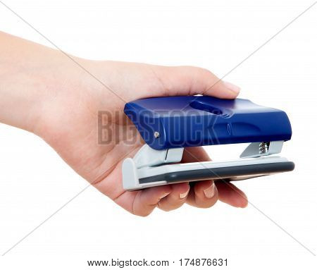 Hand Holding Blue Stapler Stapling Papers Closeup View