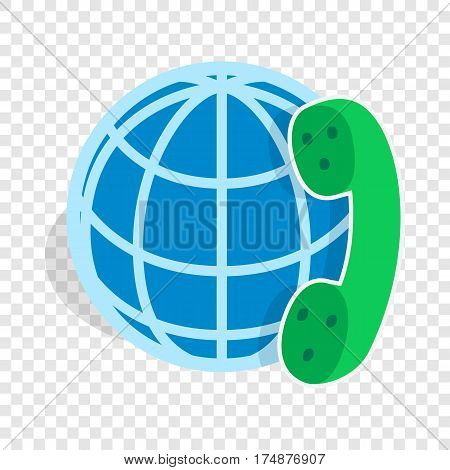 Calls around world isometric icon 3d on a transparent background vector illustration