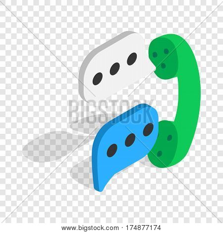 Talking on phone isometric icon 3d on a transparent background vector illustration