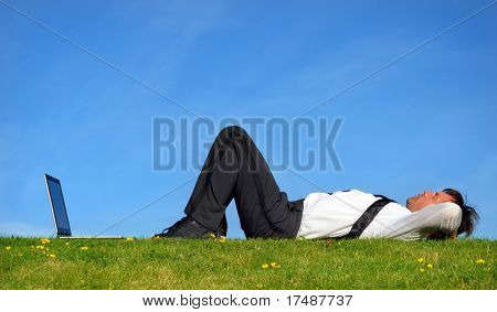 Businessman lie down and resting