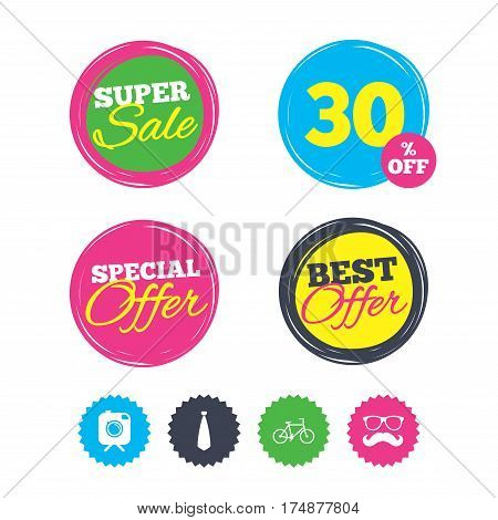 Super sale and best offer stickers. Hipster photo camera with mustache icon. Glasses and tie symbols. Bicycle family vehicle sign. Shopping labels. Vector