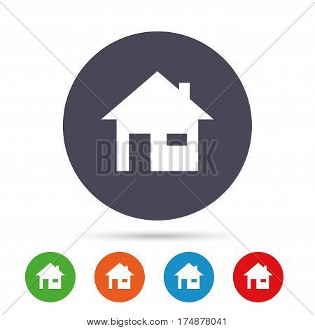 Home sign icon. Main page button. Navigation symbol. Round colourful buttons with flat icons. Vector