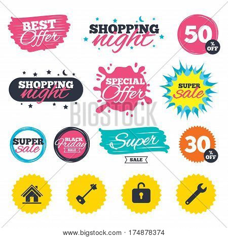 Sale shopping banners. Special offer splash. Home key icon. Wrench service tool symbol. Locker sign. Main page web navigation. Web badges and stickers. Best offer. Vector