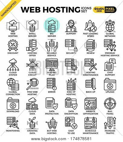 Web Hosting Line Icon Set