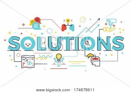 Solutions Word Lettering Illustration