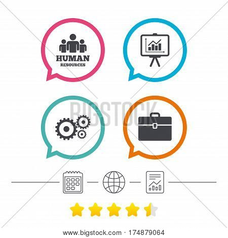 Human resources and Business icons. Presentation board with charts signs. Case and gear symbols. Calendar, internet globe and report linear icons. Star vote ranking. Vector