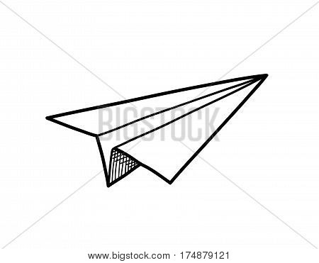 Origami Paper Airplane Doodle, a hand drawn vector doodle illustration of an airplane origami