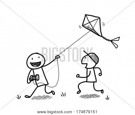 Kids Playing With A Kite Doodle, a hand drawn vector doodle illustration of children playing kite.