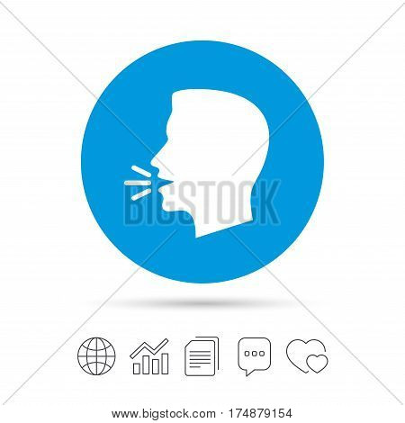Talk or speak icon. Loud noise symbol. Human talking sign. Copy files, chat speech bubble and chart web icons. Vector