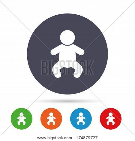 Baby infant sign icon. Toddler boy in pajamas or crawlers body symbol. Child WC toilet. Round colourful buttons with flat icons. Vector