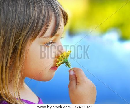 cute little girl holding a dandelion,