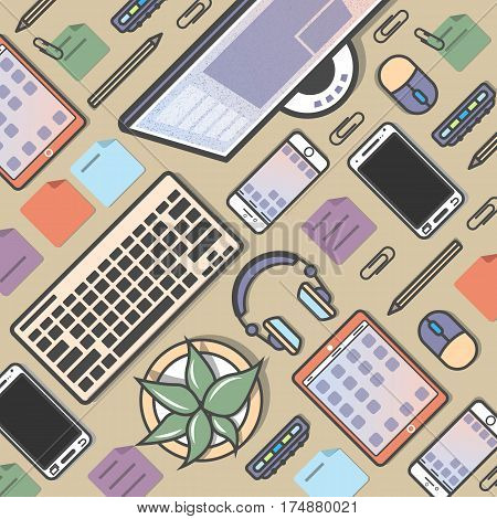 Mobile programming background vector illustration. Desktop computer, smartphone, tablet, headphones, cactus. Mobile application development, smartphone apps coding, software testing and debugging