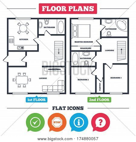 Architecture plan with furniture. House floor plan. Information icons. Stop prohibition and question FAQ mark speech bubble signs. Approved check mark symbol. Kitchen, lounge and bathroom. Vector