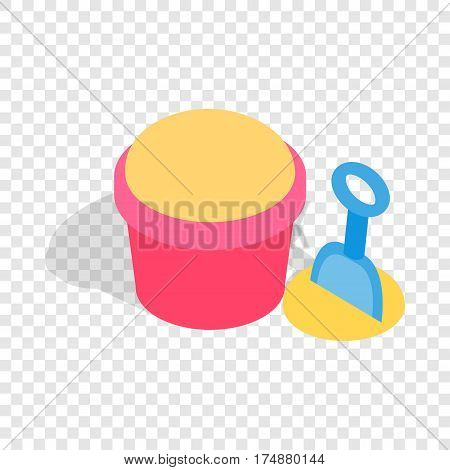 Bucket and shovel for childrens sandbox isometric icon 3d on a transparent background vector illustration