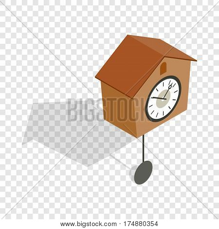Cuckoo clock isometric icon 3d on a transparent background vector illustration